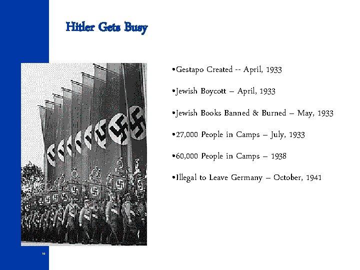 Hitler Gets Busy • Gestapo Created -- April, 1933 • Jewish Boycott – April,