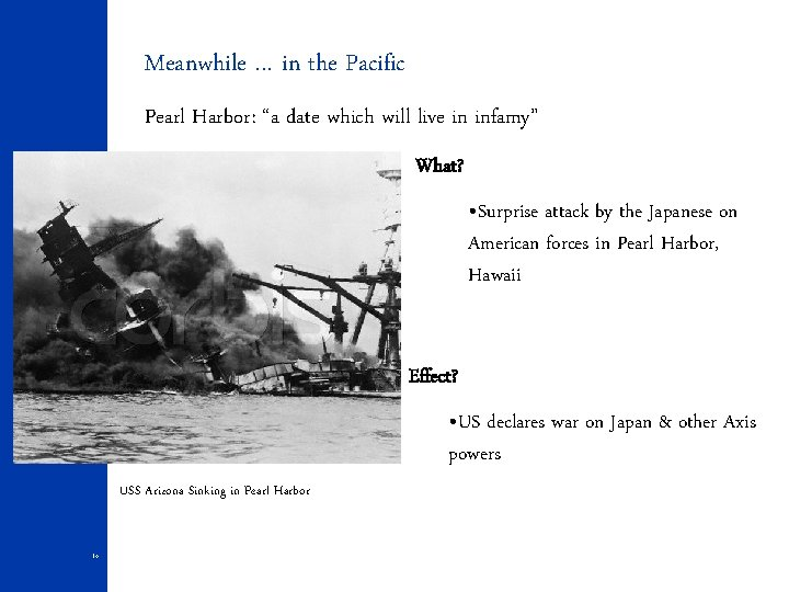 """Meanwhile … in the Pacific Pearl Harbor: """"a date which will live in infamy"""""""