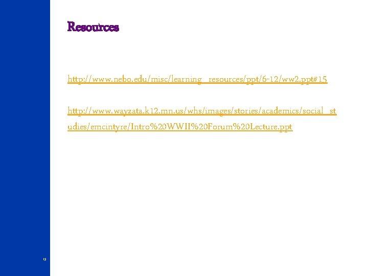 Resources http: //www. nebo. edu/misc/learning_resources/ppt/6 -12/ww 2. ppt#15 http: //www. wayzata. k 12. mn.