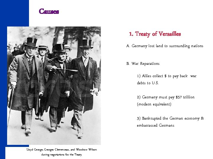Causes 1. Treaty of Versailles A. Germany lost land to surrounding nations B. War