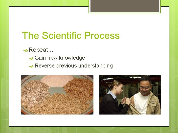 The Scientific Process Repeat… Gain new knowledge Reverse previous understanding