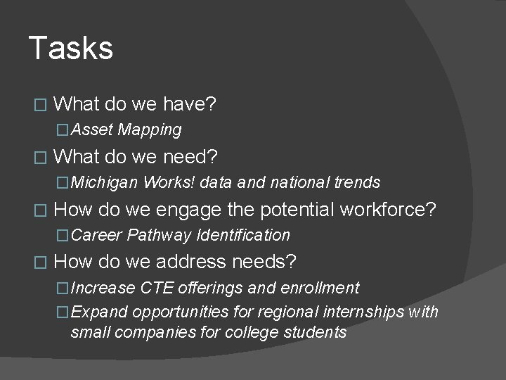 Tasks � What do we have? �Asset Mapping � What do we need? �Michigan