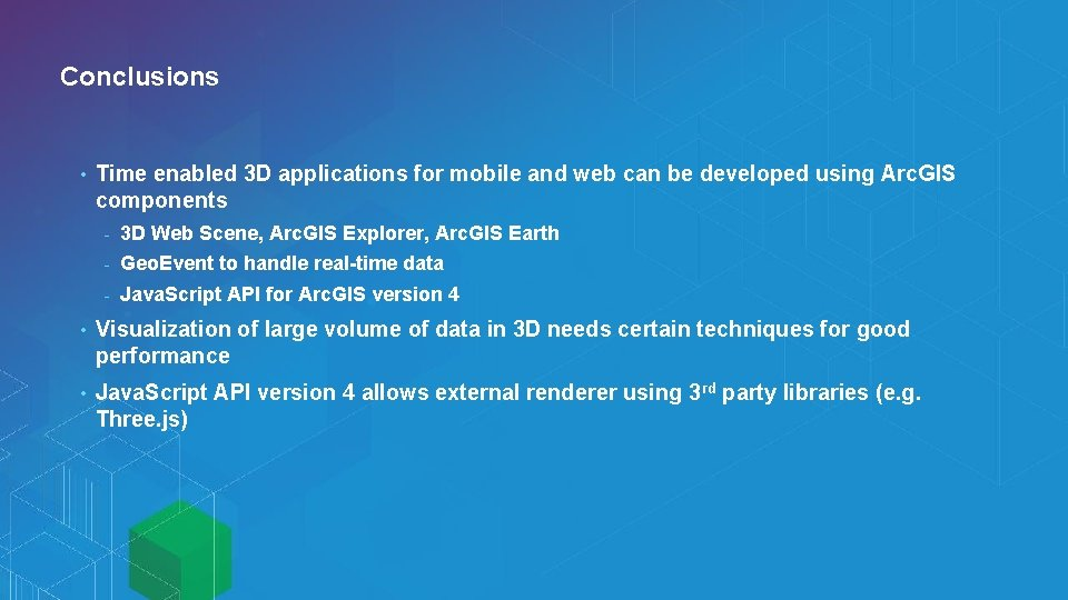 Conclusions • Time enabled 3 D applications for mobile and web can be developed