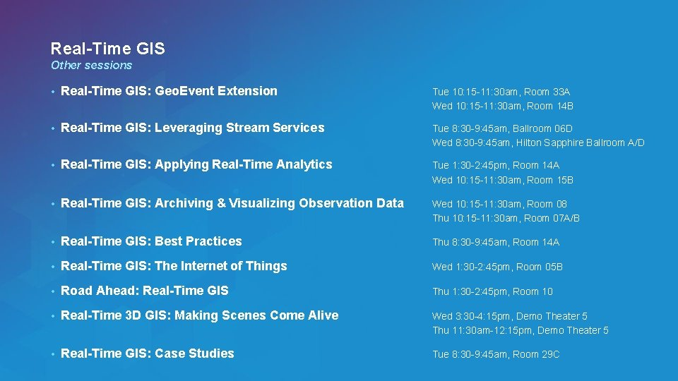 Real-Time GIS Other sessions • Real-Time GIS: Geo. Event Extension Tue 10: 15 -11: