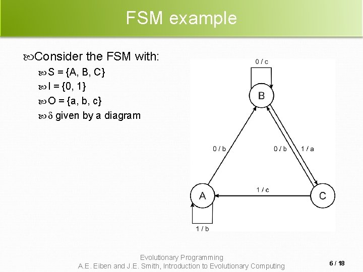 FSM example Consider the FSM with: S = {A, B, C} I = {0,