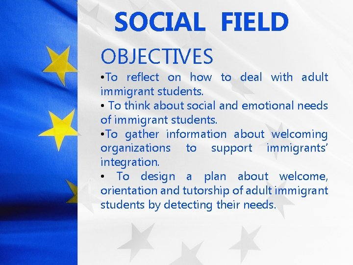 SOCIAL FIELD OBJECTIVES • To reflect on how to deal with adult immigrant students.