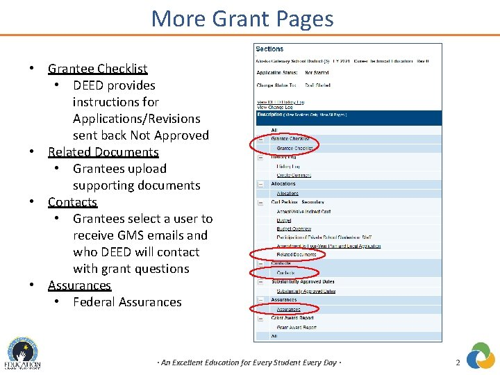 More Grant Pages • Grantee Checklist • DEED provides instructions for Applications/Revisions sent back