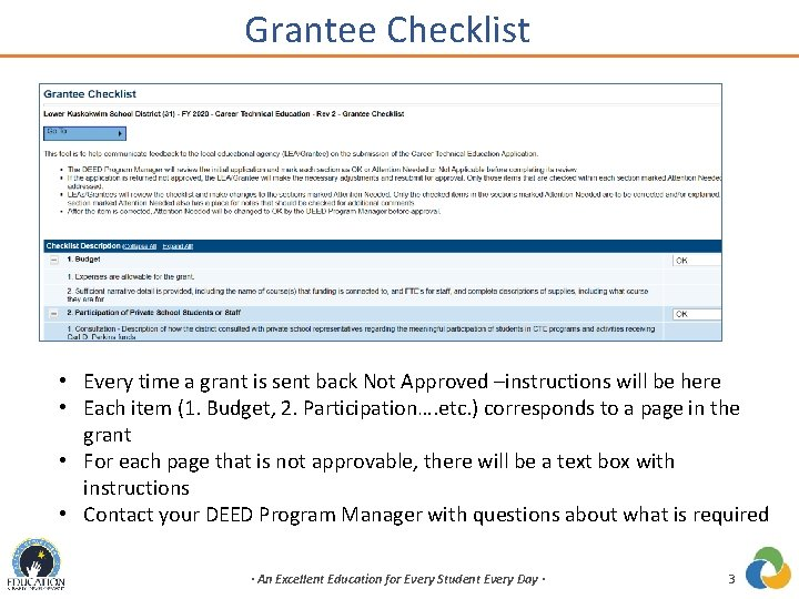 Grantee Checklist • Every time a grant is sent back Not Approved –instructions will