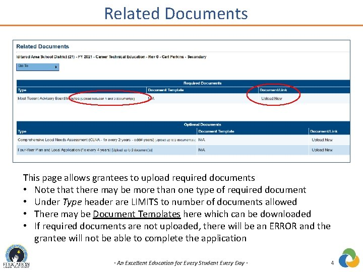 Related Documents This page allows grantees to upload required documents • Note that there