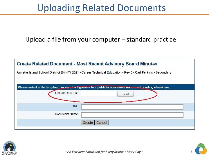 Uploading Related Documents Upload a file from your computer – standard practice · An