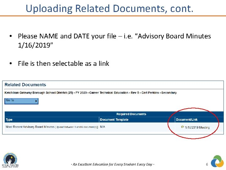 Uploading Related Documents, cont. • Please NAME and DATE your file – i. e.