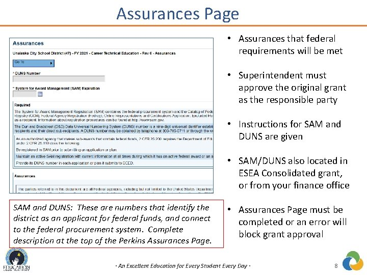 Assurances Page • Assurances that federal requirements will be met • Superintendent must approve