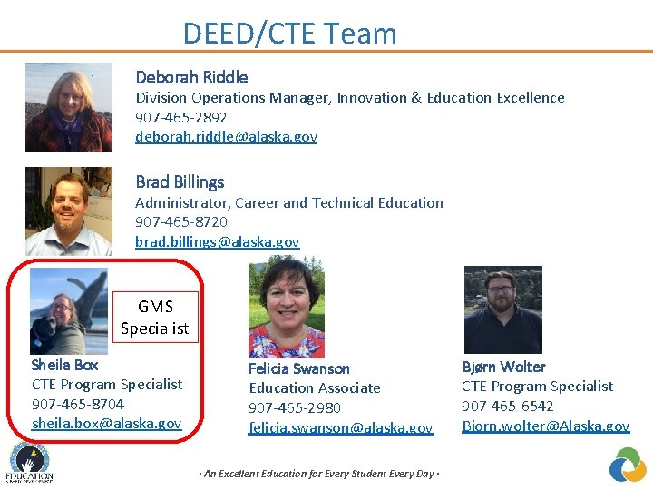 DEED/CTE Team Deborah Riddle Division Operations Manager, Innovation & Education Excellence 907 -465 -2892
