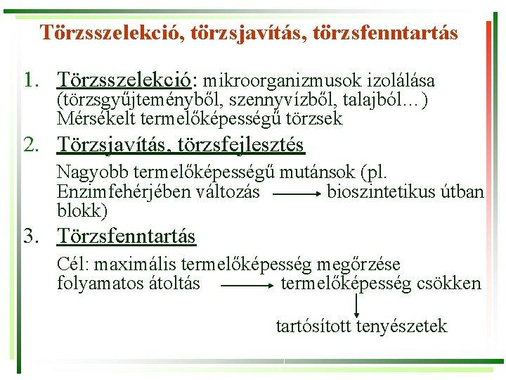 Törzsszelekció, törzsjavítás, törzsfenntartás 1. Törzsszelekció: mikroorganizmusok izolálása (törzsgyűjteményből, szennyvízből, talajból…) Mérsékelt termelőképességű törzsek 2.
