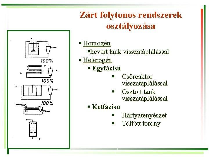 Zárt folytonos rendszerek osztályozása § Homogén §kevert tank visszatáplálással § Heterogén § Egyfázisú §