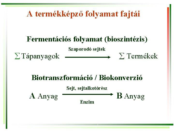 A termékképző folyamat fajtái Fermentációs folyamat (bioszintézis) Tápanyagok Szaporodó sejtek Termékek Biotranszformáció / Biokonverzió