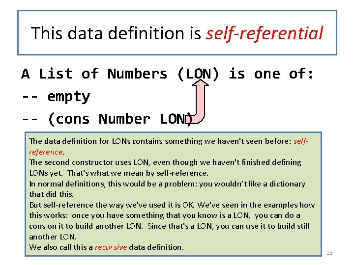 This data definition is self-referential A List of Numbers (LON) is one of: --