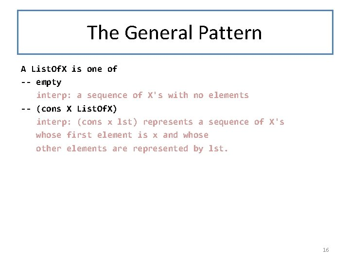 The General Pattern A List. Of. X is one of -- empty interp: a