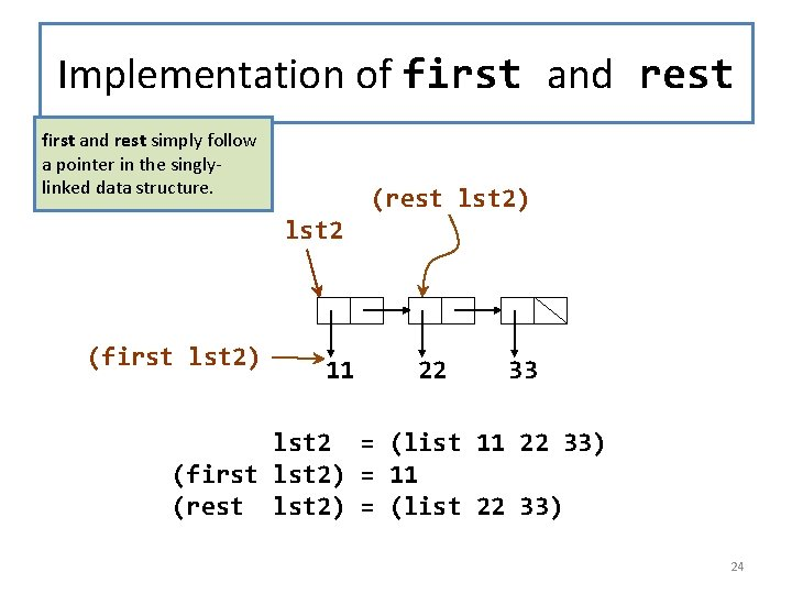 Implementation of first and rest simply follow a pointer in the singlylinked data structure.
