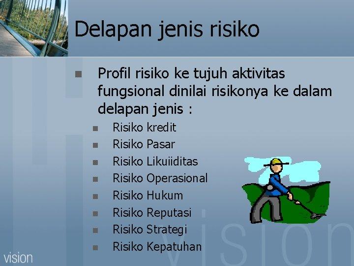 Delapan jenis risiko n Profil risiko ke tujuh aktivitas fungsional dinilai risikonya ke dalam