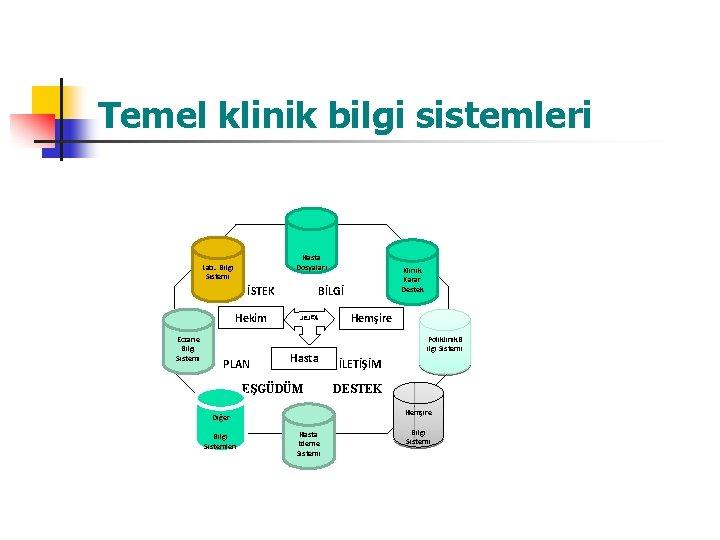Temel klinik bilgi sistemleri Hasta Dosyaları Lab. Bilgi Sistemi İSTEK Eczane Bilgi Sistemi PLAN
