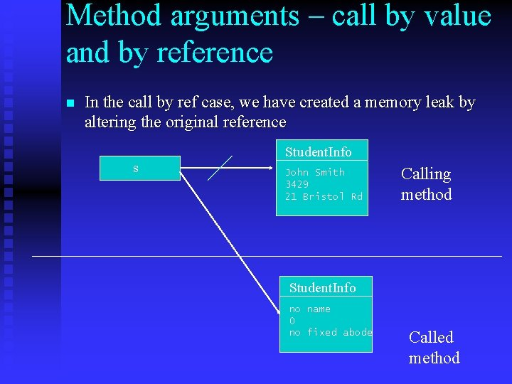Method arguments – call by value and by reference n In the call by