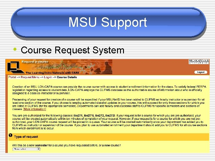MSU Support • Course Request System