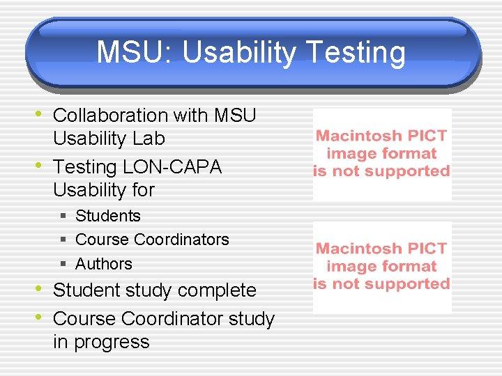 MSU: Usability Testing • Collaboration with MSU • Usability Lab Testing LON-CAPA Usability for