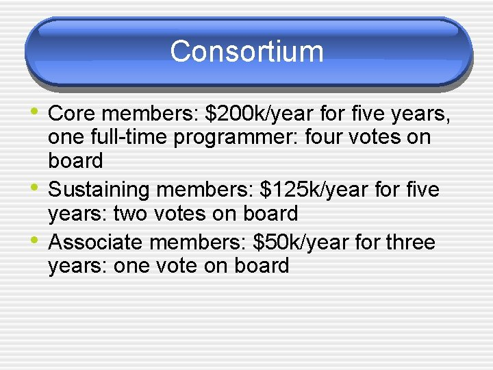 Consortium • Core members: $200 k/year for five years, • • one full-time programmer: