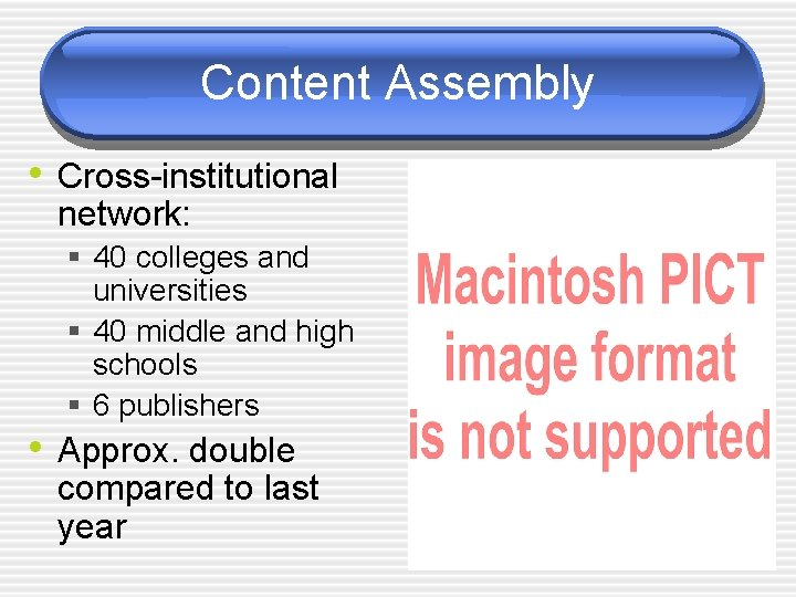 Content Assembly • Cross-institutional network: § 40 colleges and universities § 40 middle and