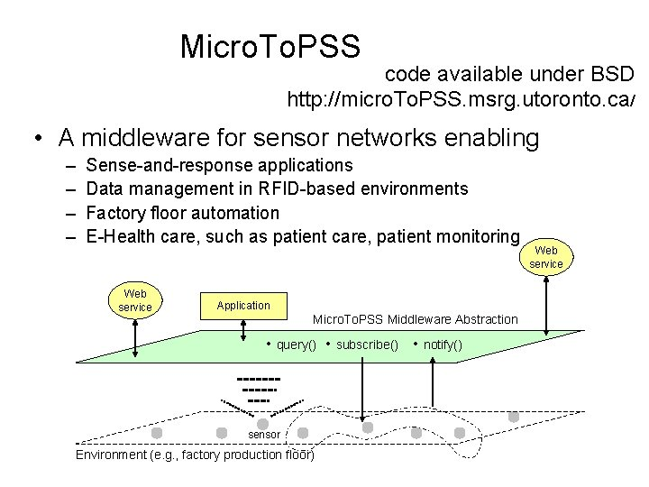 Micro. To. PSS code available under BSD http: //micro. To. PSS. msrg. utoronto. ca/