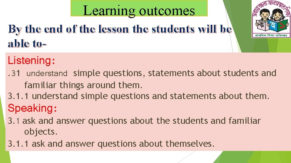 Learning outcomes By the end of the lesson the students will be able to.