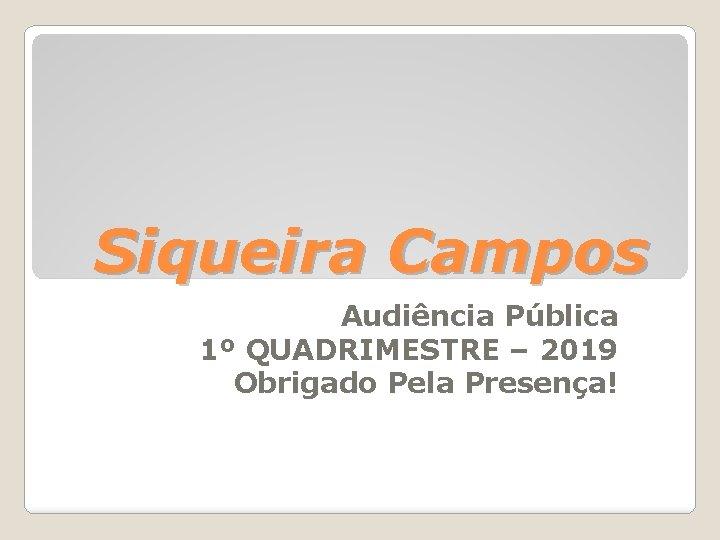 Siqueira Campos Audiência Pública 1º QUADRIMESTRE – 2019 Obrigado Pela Presença!