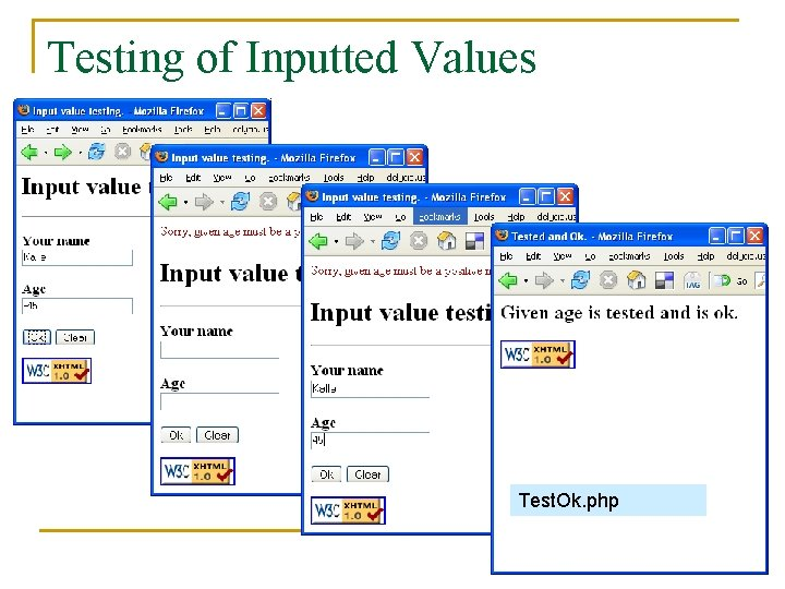 Testing of Inputted Values Test. Ok. php
