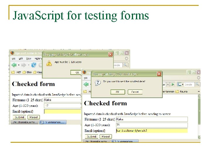Java. Script for testing forms