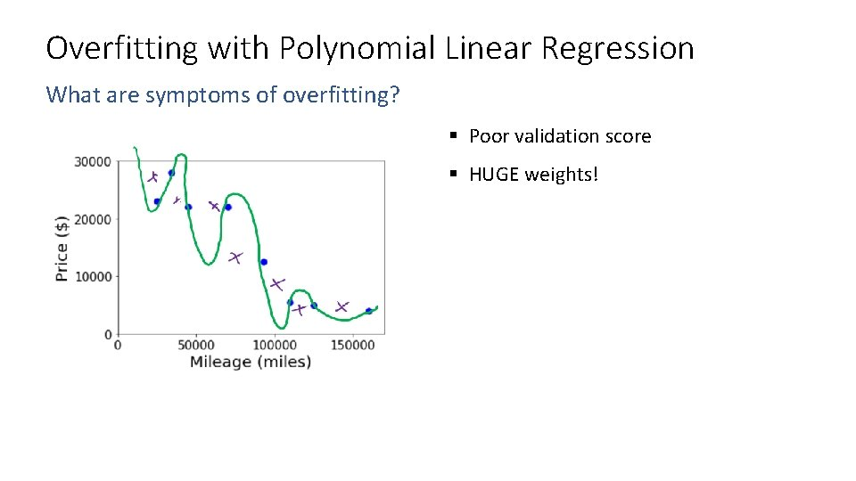 Overfitting with Polynomial Linear Regression What are symptoms of overfitting? § Poor validation score