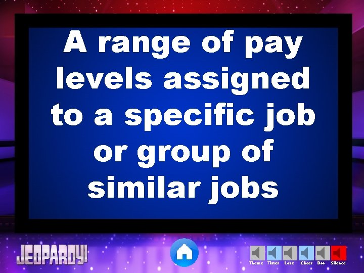 A range of pay levels assigned to a specific job or group of similar