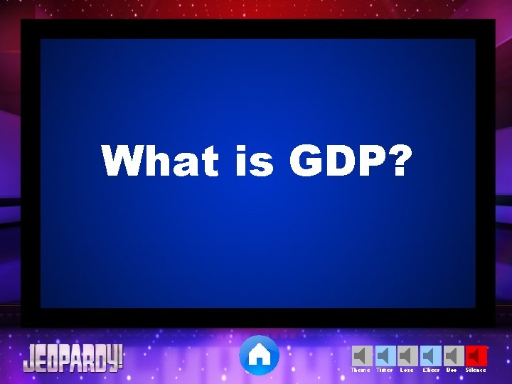 What is GDP? Theme Timer Lose Cheer Boo Silence