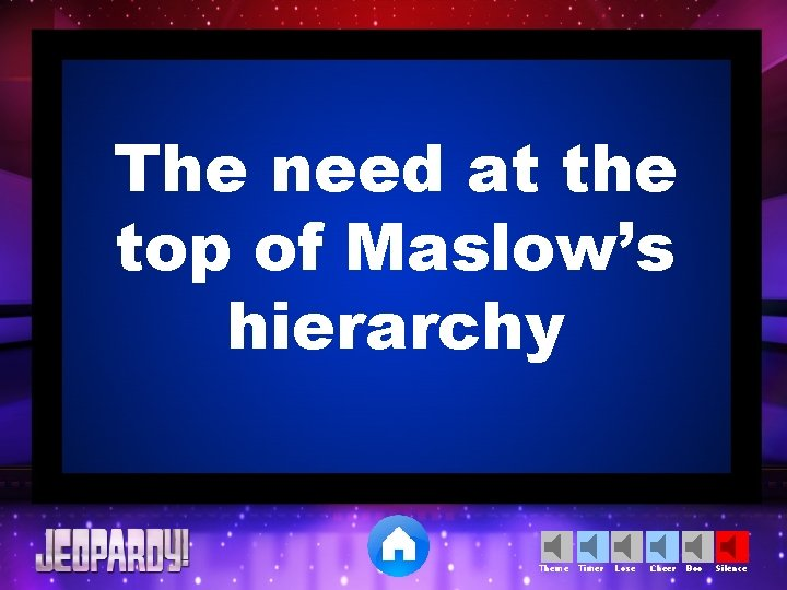 The need at the top of Maslow's hierarchy Theme Timer Lose Cheer Boo Silence