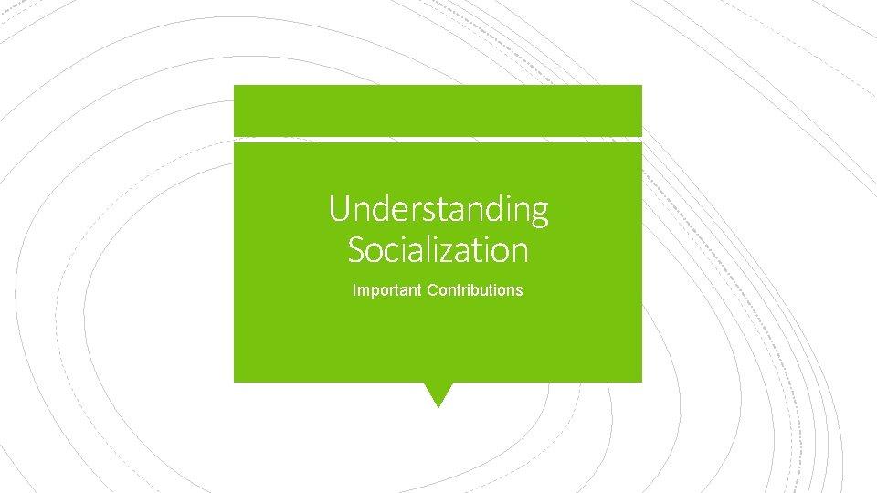 Understanding Socialization Important Contributions