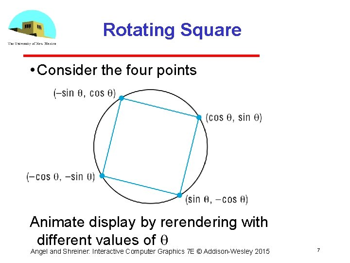 Rotating Square • Consider the four points Animate display by rerendering with different values