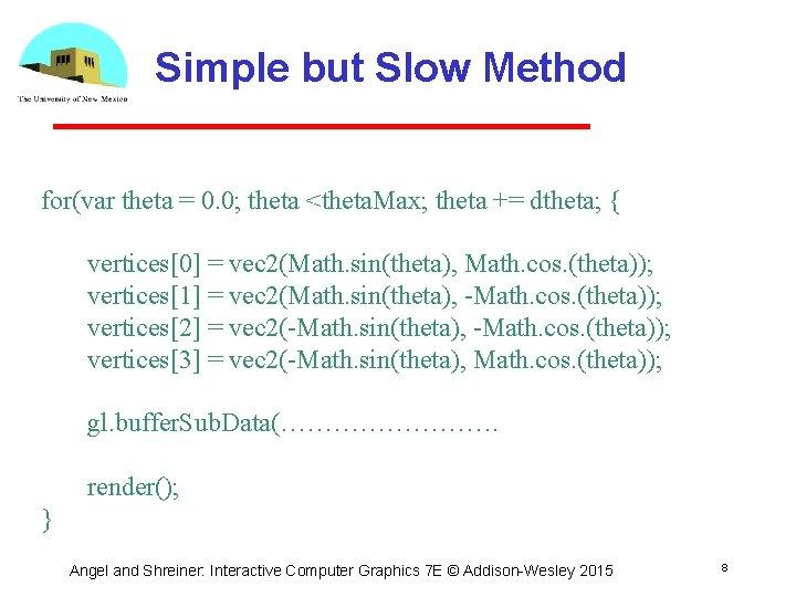 Simple but Slow Method for(var theta = 0. 0; theta <theta. Max; theta +=
