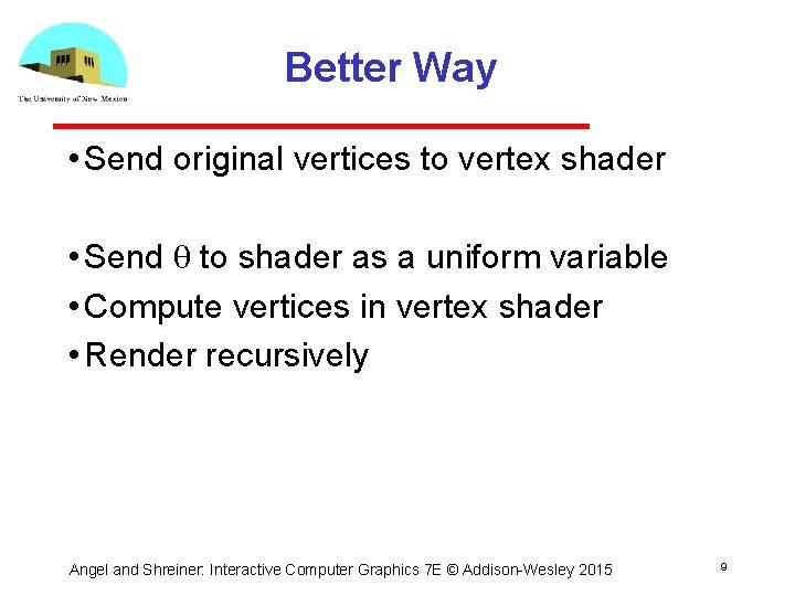Better Way • Send original vertices to vertex shader • Send q to shader