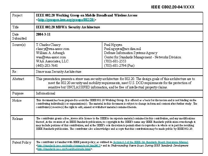 IEEE C 802. 20 -04/XXXX Project IEEE 802. 20 Working Group on Mobile Broadband