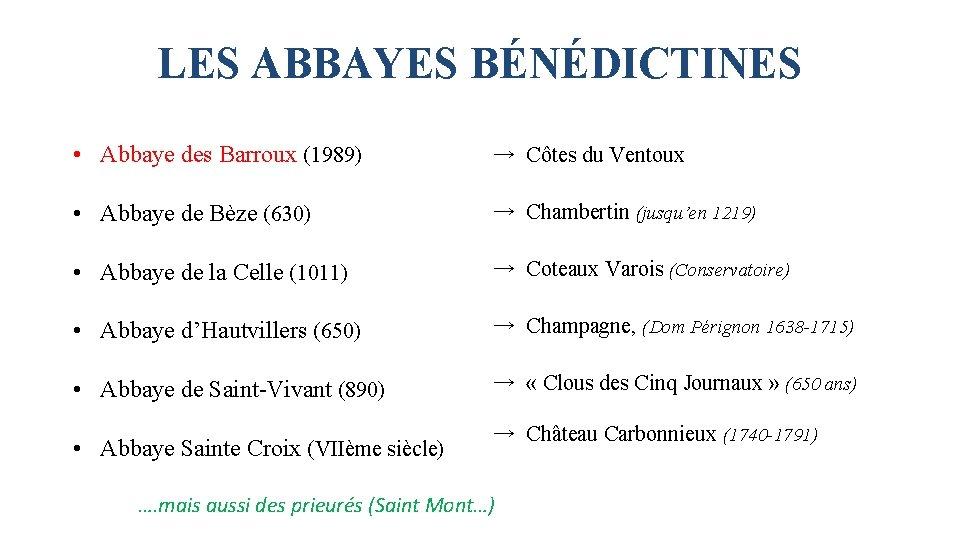 LES ABBAYES BÉNÉDICTINES • Abbaye des Barroux (1989) → Côtes du Ventoux • Abbaye