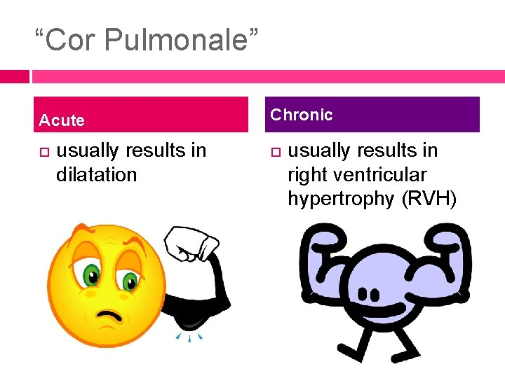 """""""Cor Pulmonale"""" Acute usually results in dilatation Chronic usually results in right ventricular hypertrophy"""