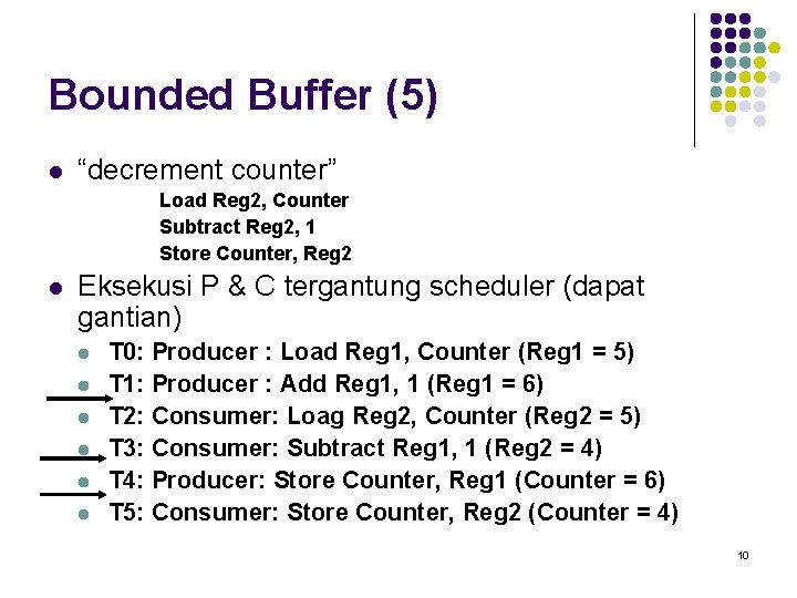 """Bounded Buffer (5) l """"decrement counter"""" Load Reg 2, Counter Subtract Reg 2, 1"""