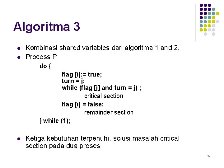 Algoritma 3 l l Kombinasi shared variables dari algoritma 1 and 2. Process Pi