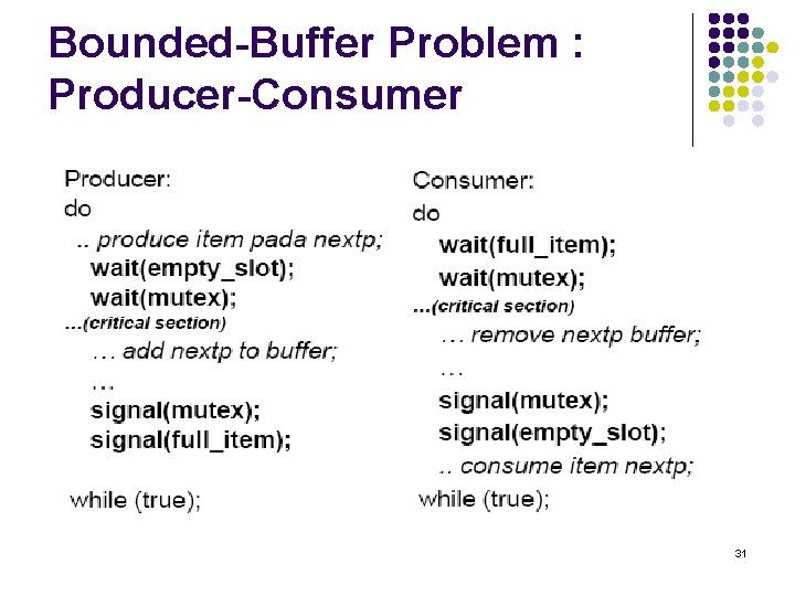 Bounded-Buffer Problem : Producer-Consumer 31