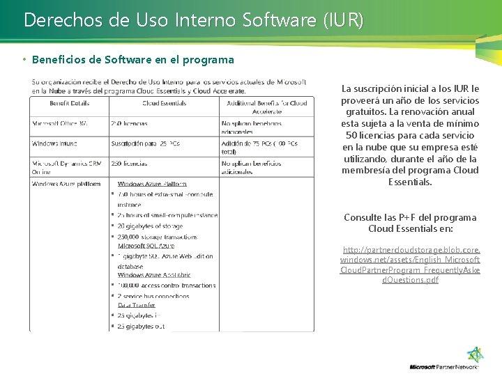 Derechos de Uso Interno Software (IUR) • Beneficios de Software en el programa La
